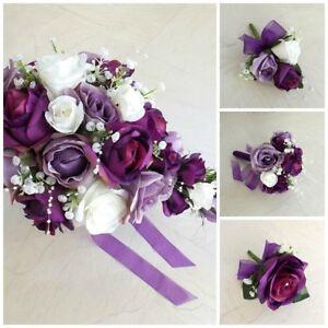 Purple lilac white wedding flowers brides bouquet bridesmaid image is loading purple lilac amp white wedding flowers brides bouquet mightylinksfo