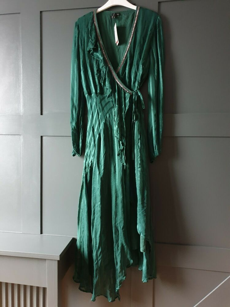 Anthropologie Bl ^ Nk London Holly à Volants Robe Portefeuille Large £ 118.00 Vert