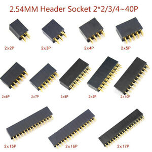 2.54 mm Douilles Barre croisé 2 x 2 - 2 x 40 Broches Pin Header Femelle précisément