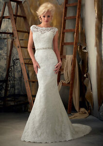Mermaid White/Ivory Lace Wedding Dress Bridal Gown custom Size4 6 8 10 12 14 16+