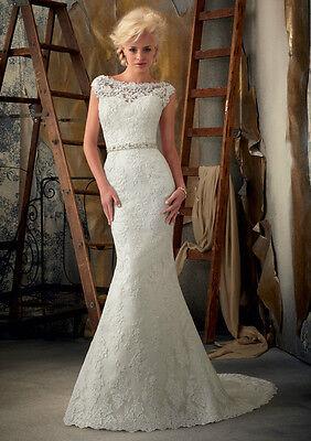 Mermaid White Ivory Lace Wedding Dress Bridal Gown Stock Size 6 8 10 12 14