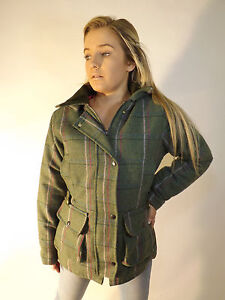 New English Ladies Wool Green Pink Purple Tweed Padded Jacket 8 10