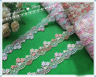 """1.5""""*1Y Floral Venise Lace Trim~Pink/Blue/White/Yellow~Flower Faeries~Lovely~"""