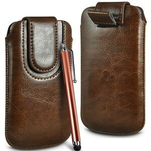 Brown-Magnetic-PU-Leather-Pull-Tab-Flip-Case-Cover-amp-Stylus-for-Mobile-Phones