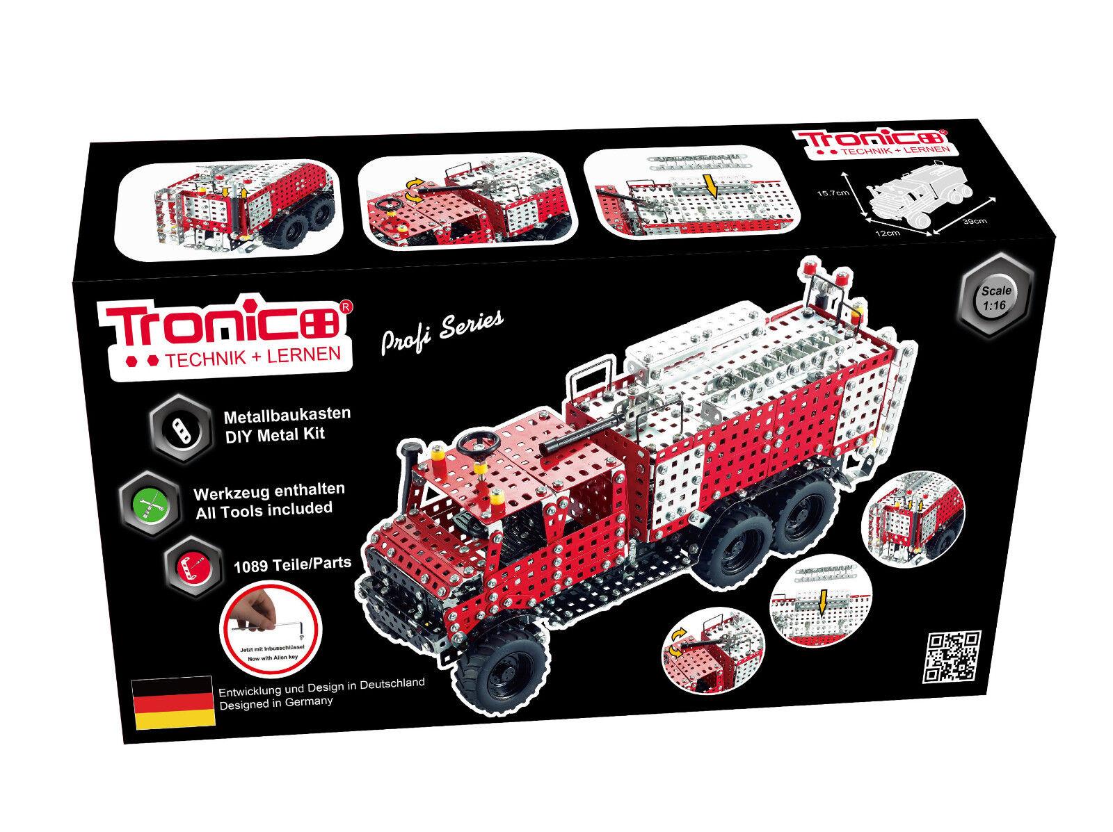 Tronico Metallbaukasten Unimog Feuerwehrfahrzeug 1:16, 1089 Teile