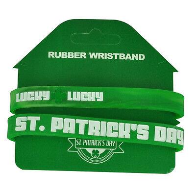 Fanartikel Saint St Patricks Tag Glück Good Luck 2 Stück Gummi Armband Grün Armband Baseball & Softball