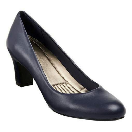 Easy Spirit ROTefine navy Leder pump 2 1/2 inch heels sz 9 Med NEU