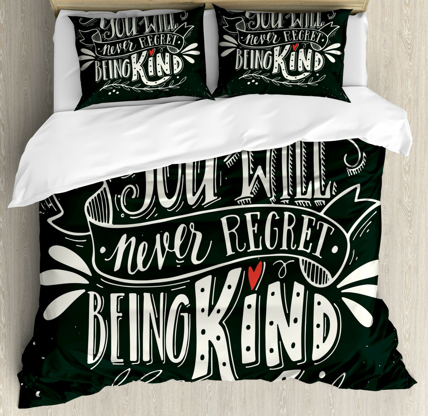 Quote Duvet Cover Set with Pillow Shams Kind Inspirational Phrase Print