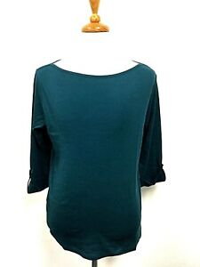 Jones-New-York-Womens-Top-Plus-Size-3-4-Sleeve-Boat-Neck-Roll-Cuff-Teal-Shirt-2x