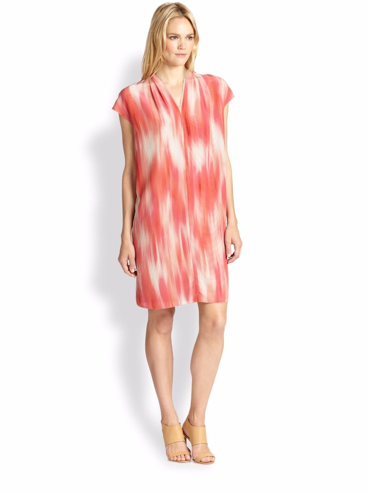 Elie Tahari Dallas Coral Reef Printed 100% Silk Stylish Shift Dress. NWT Meadium