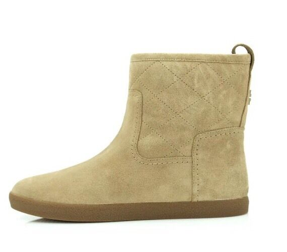 Tory Burch Alana Split Suede Straight Shearling Light Camel Booties 7162 Sz 8 M