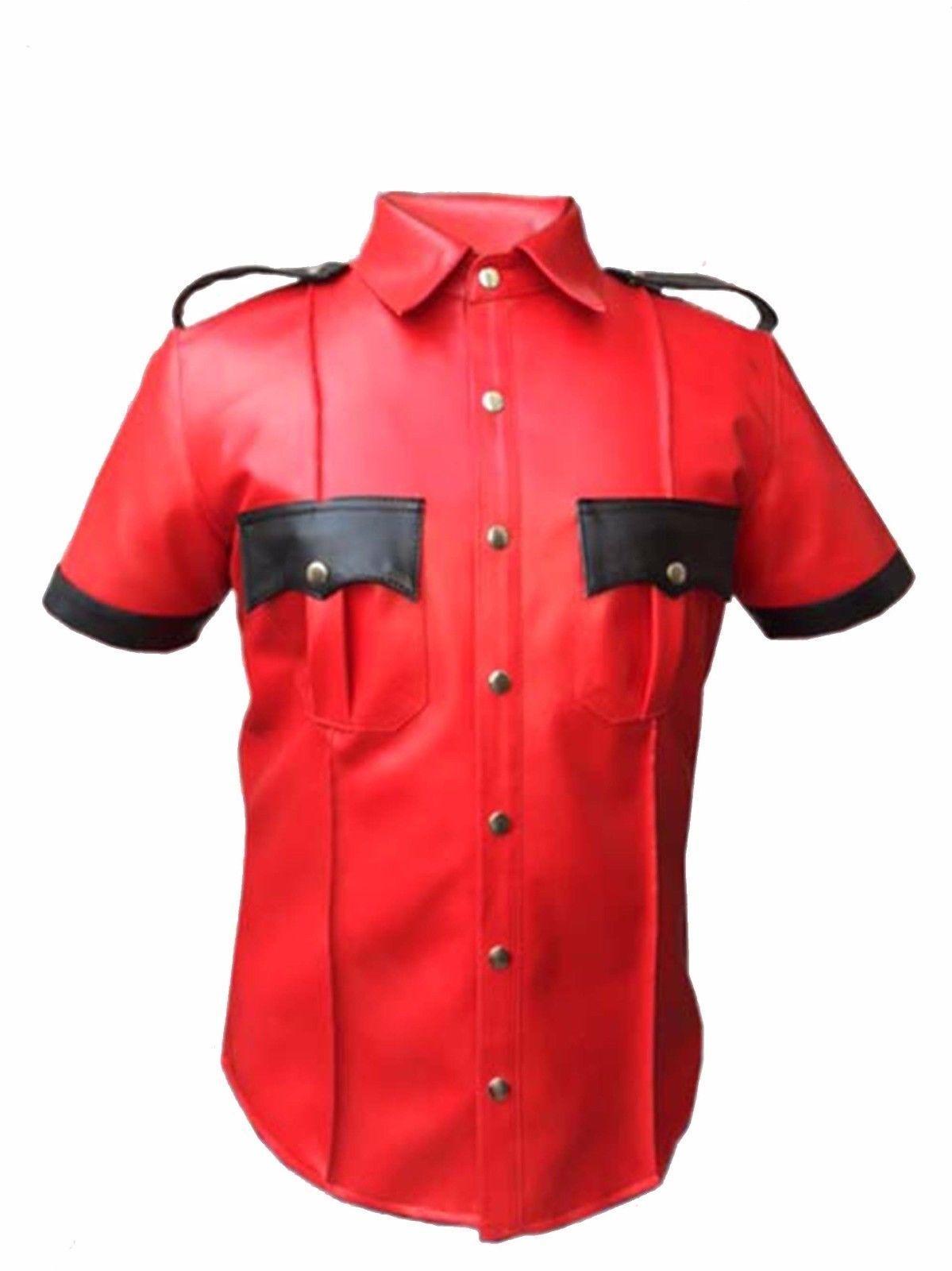 Policía de Cuero De Cordero Oveja Real  uniforme Camisa azulf Gay Hombre Cordero Caliente  Tienda 2018