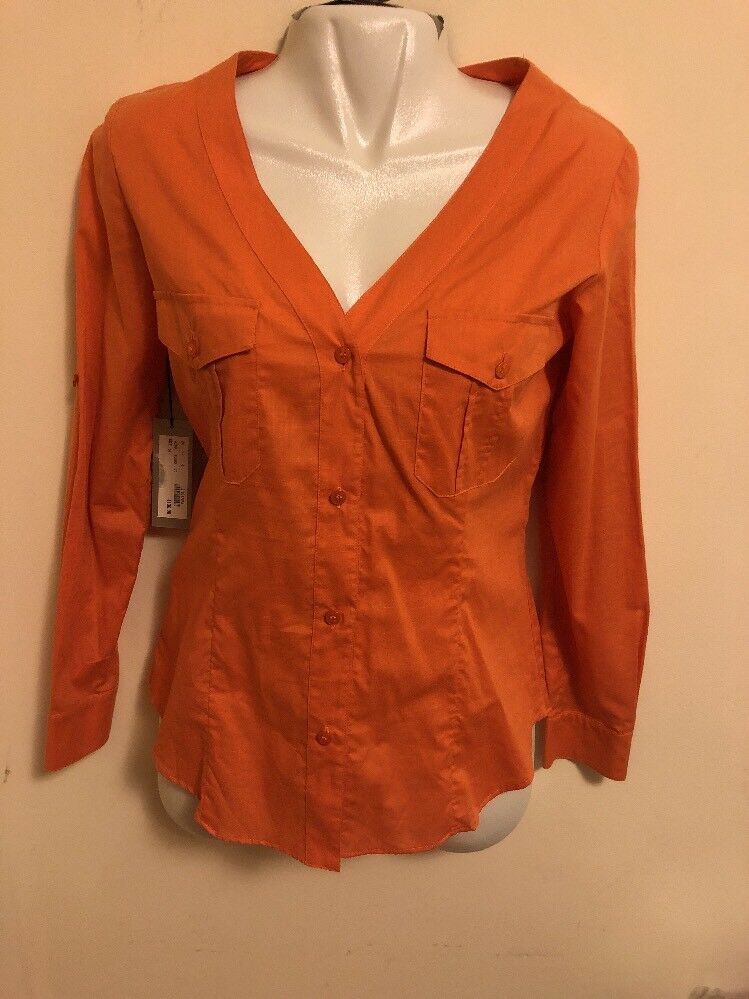 Adrienne Vittadini Blouse Orange Farbe, Größe 6, 100%-Cotton, Made In Hungary.