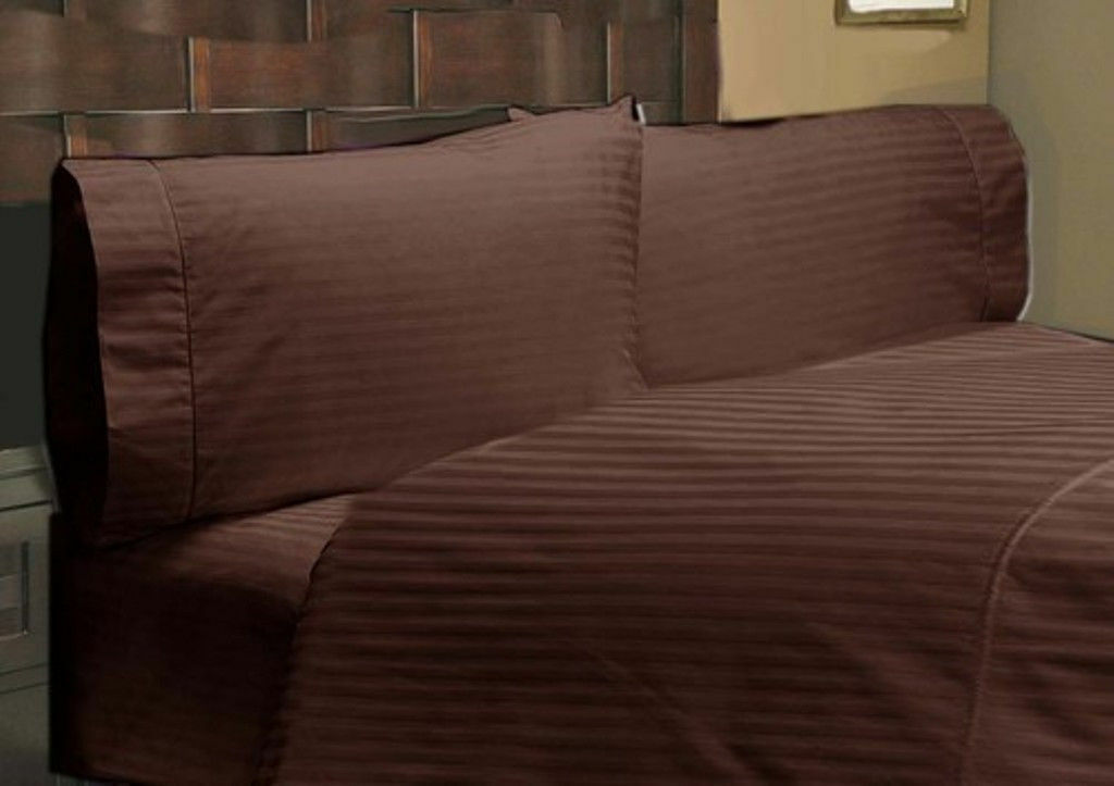 1000 Thread Count Egyptian Cotton Luxury Bedding Items US Size Chocolate Striped