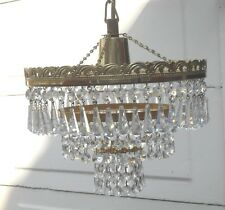 VINTAGE 1960/70s FRENCH STYLE CRYSTAL 3 TIER CHANDELIER CEILING LIGHT