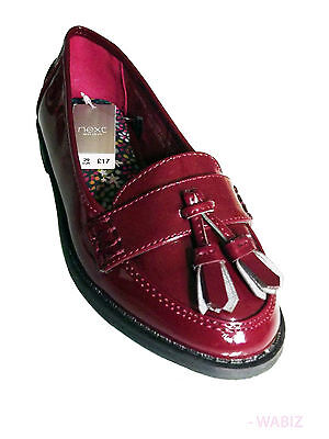 Ex-Store Girls Ladies Patent Tassel Loafers Shoes Christmas Xmas Gift Size 1-5
