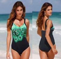 Neu Damen Einteiler Badeanzug Bademode Schwimmanzug Monokini GR.34-50 Schwarz