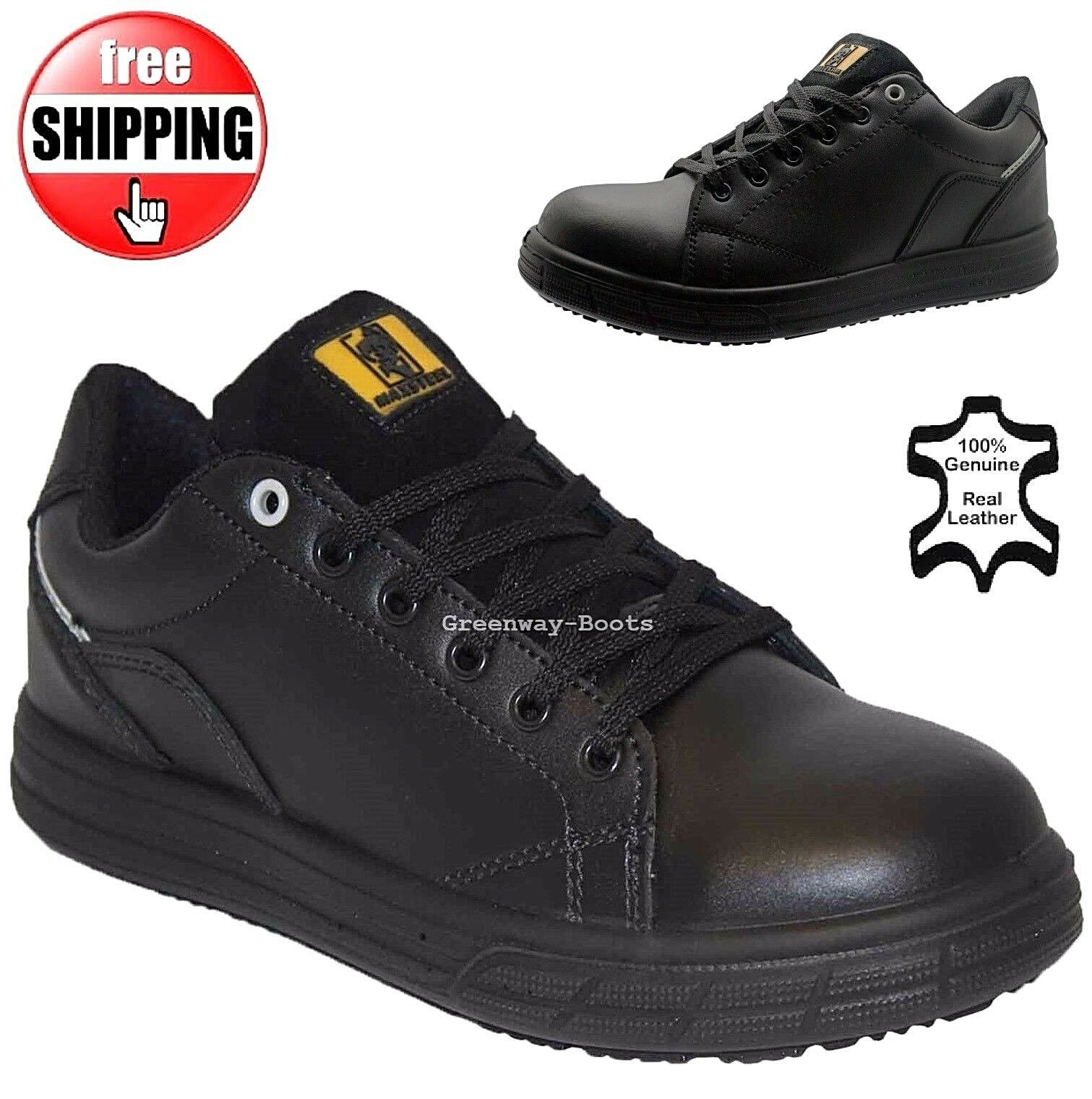 MENS LEATHER LIGHTWEIGHT STEEL TOE CAP BOOTS SAFETY TRAINERS BLACK SHOES BOOTS CAP SZ 6-13 07ae76