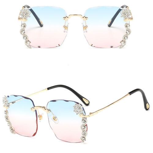 Luxury Rhinestone Rimless Sunglasses Women Fashion Outdoor Shades Eyewear UV400