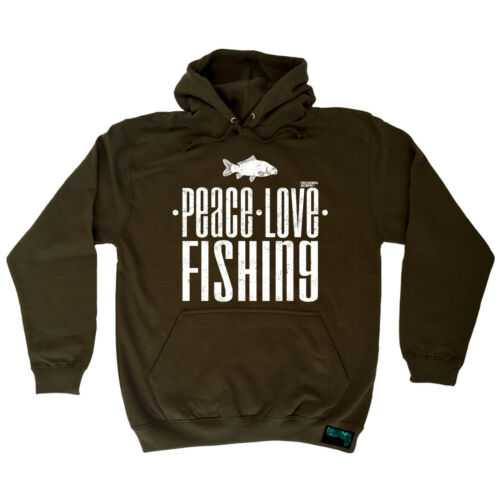 Fishing Hoodie Peace Love Fishing fish rod reel funny Birthday Gift HOODY