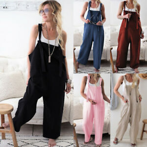 Womens-Ladies-Casual-Romper-Sleeveless-Dungarees-Playsuit-Overalls-Cami-Jumpsuit