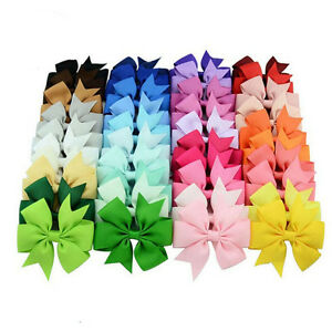 40x-Large-Cloth-Bow-Hair-Ribbon-Knot-Clips-For-Kids-Girls-Hair-Accessory