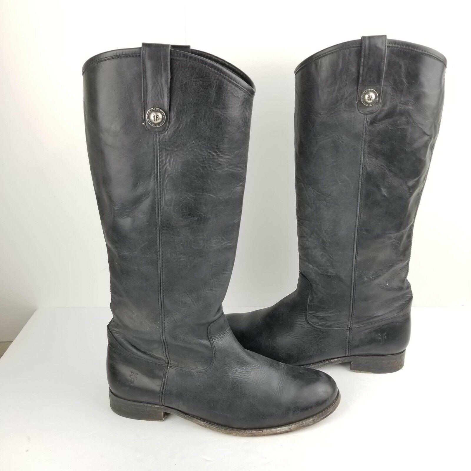 Frye Melissa Women's Black leather Size 10 B Mid calf button logo Boots