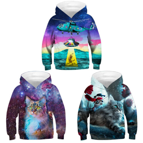 Alien Cat Kid/'s Hooded Coat Galaxy Cat 3D Hoodie Sweatshirt Pullover Jumper Tops