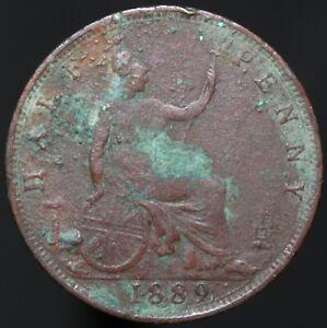 1889-Victoria-Half-Penny-Bronze-Coins-KM-Coins