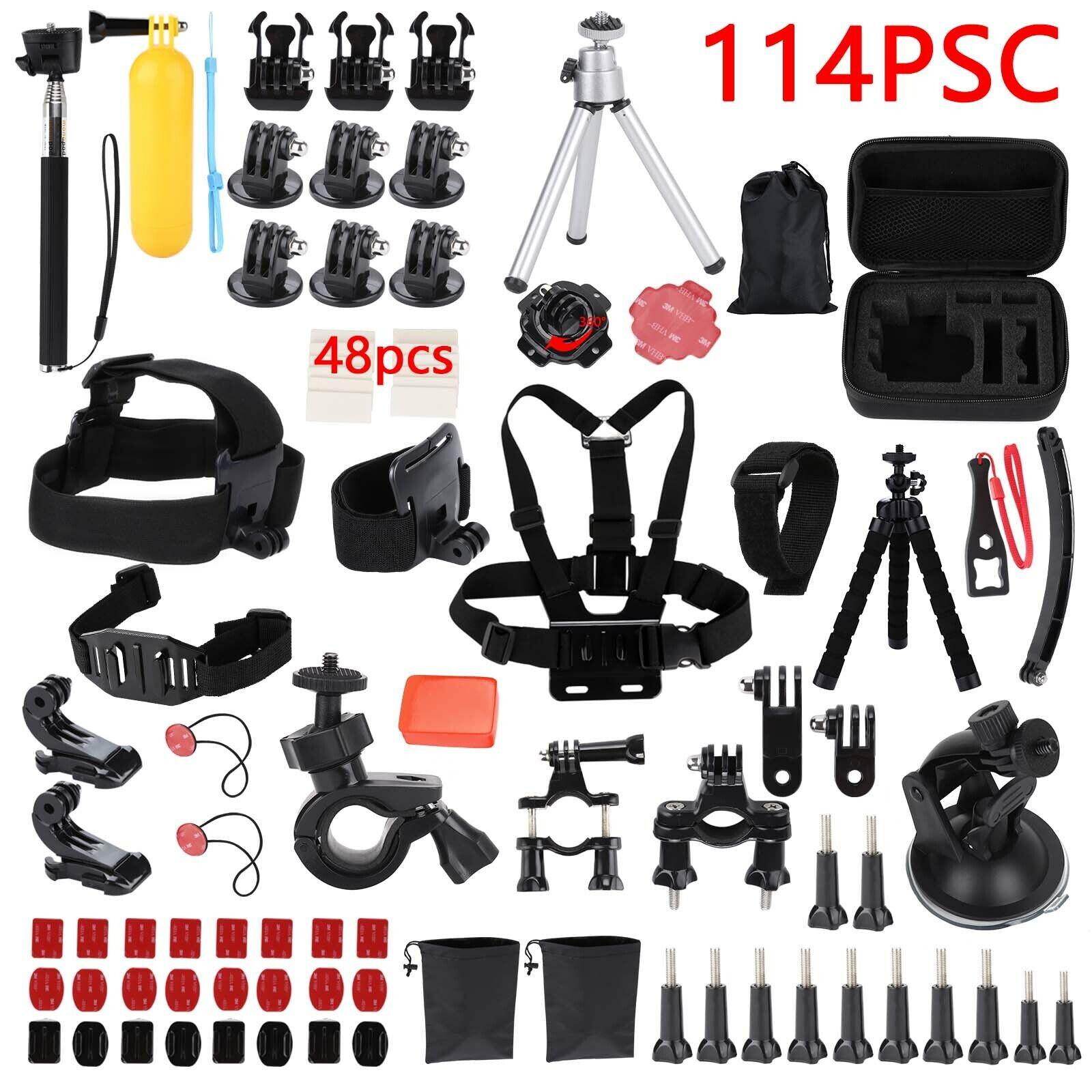 114pcs GoPro Accessories Camera Accessory Kit Bundle Chest Strap Head Mount