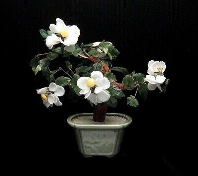 Vintage Jade Bonsai Tree White Yellow Flowers Celadon Pot Ebay