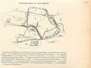 Map-Plan-de-Gand-XIIIe-Siecle-Gent-La-Lys-Lieve-GRAVURE-ANTIQUE-OLD-PRINT-1880