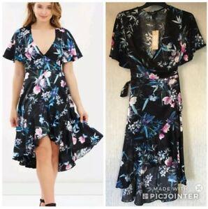 d6dff2efa New* LIPSY * AMELIA FLORAL PRINT FRILL DIP HEM WRAP DRESS, UK 8 ...