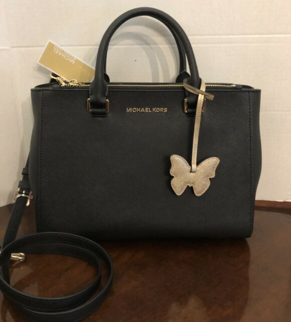 Michael Kors Kellen Medium Satchel Black Saffiano Leather Crossbody