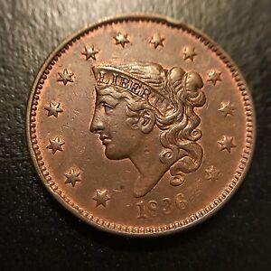1836 Matron Head Large Cent Choice AU++/Uncirculated Unc Coronet 1c