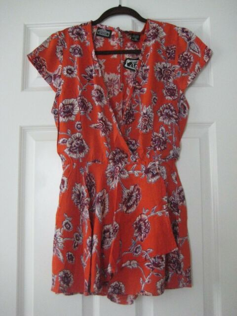 7cd07fc5eaeb Gorgeous New Burnt Orange Floral Romper Size Small Angie Brand ...