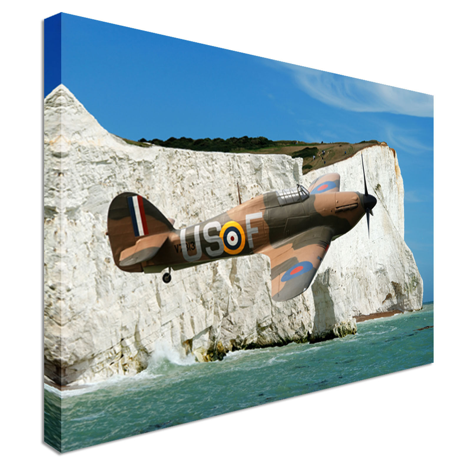 Hawker Hurricane Cliffs Of Dover Canvas Wall Art prints high quality