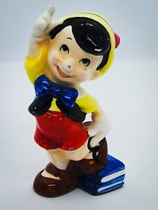 "Vintage 1980's WALT DISNEY's PINOCCHIO 5"" hand Painted Ceramic Figurine Nice"