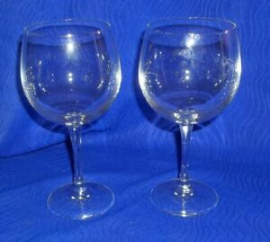 Lot-of-2-Stemware-Clear-Crystal-Glass-Wine-Goblets