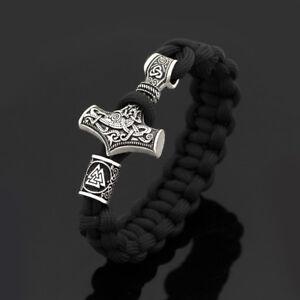 Men-Black-Parachute-Rope-Norse-Viking-Thor-Hammer-Mjolnir-amp-Valknut-Rune-Bracelet