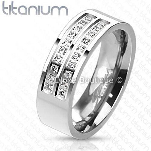 Men's 7mm Solid Titanium Simulated Diamond Comfort Fit Wedding Ring Band