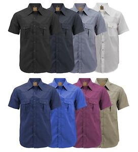 Men-s-Casual-Western-Pearl-Snap-Button-Down-Short-Sleeve-Cowboy-Dress-Shirt