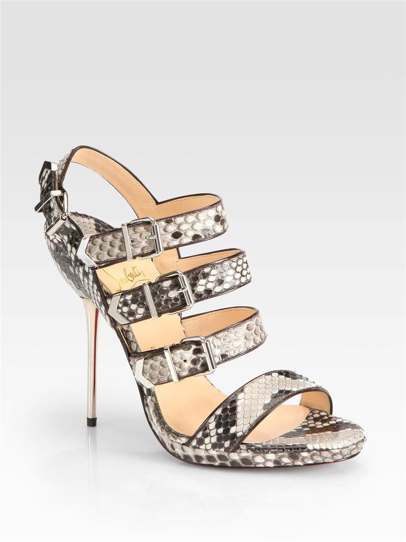 CHRISTIAN LOUBOUTIN Funky Snakeskin Buckleup Sandals Sz 37 NEW