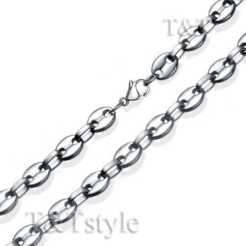 High Polished T/&T 10mm Bead Stainless Steel Chain Necklace Silver C137