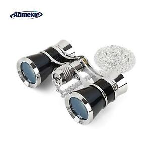 Theatre Opera Glasses Binoculars 3X25 with Chain for Theater Horse Racing Black
