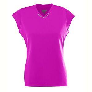 Augusta-Sportswear-Women-039-s-Wicking-Smooth-Cap-Sleeve-V-Neck-Rally-Jersey-1204