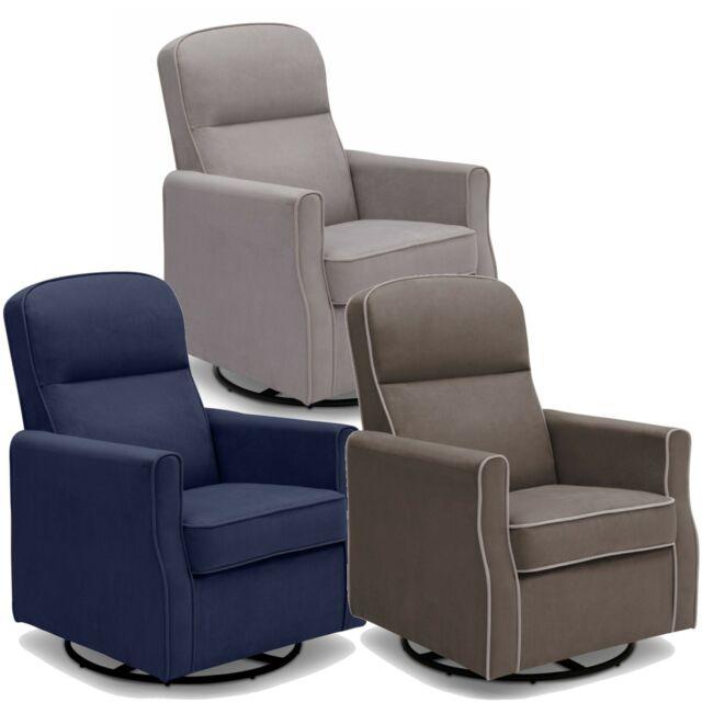Delta Children Elena Nursery Glider Swivel Rocker Chair Blue Velvet