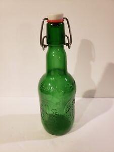 Vintage Embossed Grolsch Green Glass Beer Bottles 16 Oz Swing Top