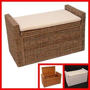 banc banquette coffre de rangement m92 rotin gris miel. Black Bedroom Furniture Sets. Home Design Ideas