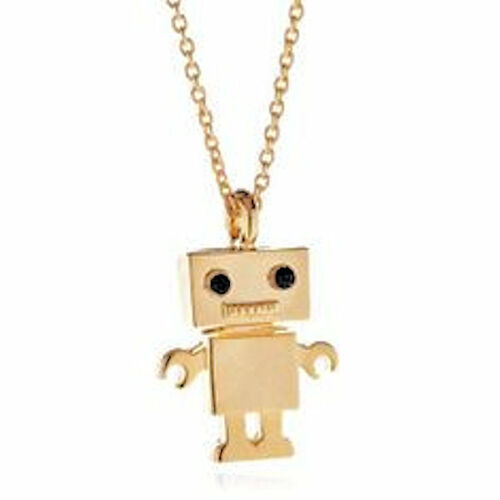 Cool Robby Robot Gold Tone Pendant Chain Necklace For Kids Children Gift Present